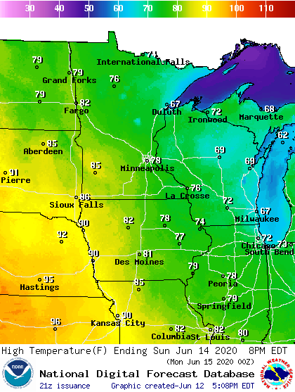 Forecast high temperatures Sunday