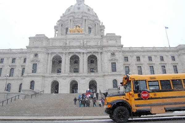 Students arrive for a tour at the state Capitol