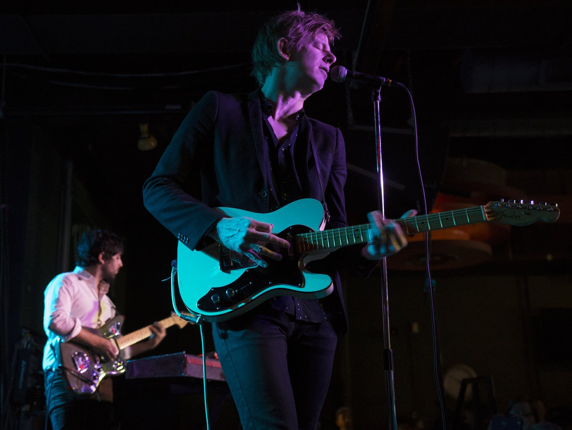 Britt and Alex of Spoon perform a Microshow at the Turf Club on Monday.