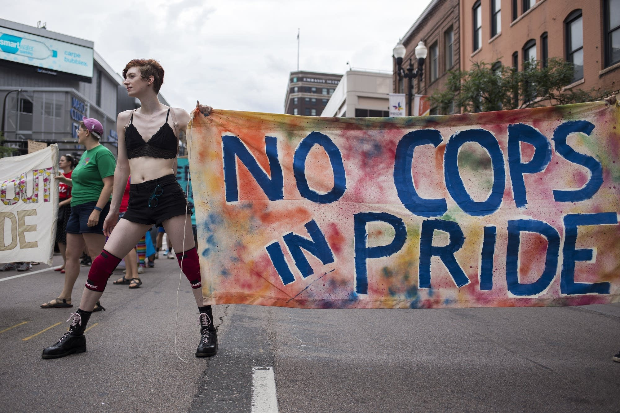 A group of protesters occupied Hennepin Avenue during Pride parade.