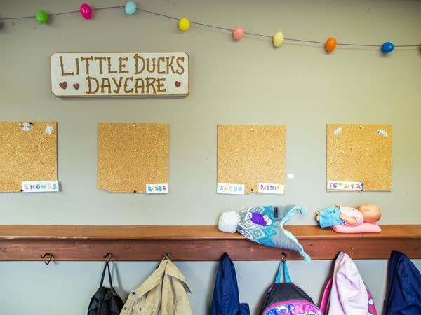 The entrance to the Little Ducks Daycare in Blackduck, Minn.