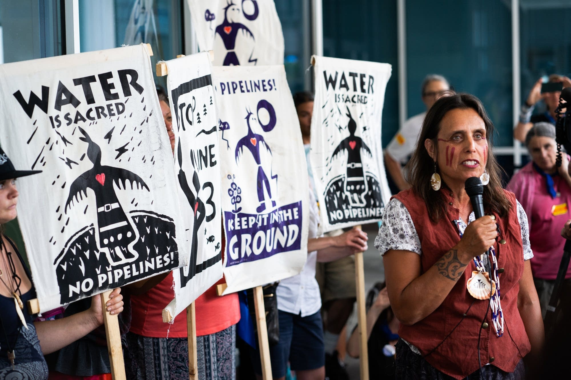 Activist Winona LaDuke speaks at a press conference.