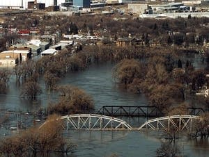 Flooded bridge in 1997 flood