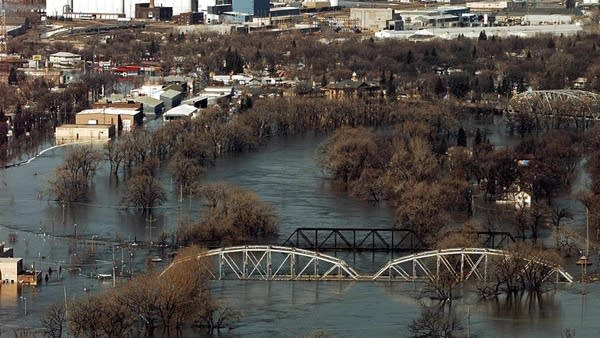 Flooded bridge in 1997 flood