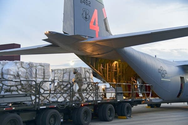 The California Air National Guard delivers ventilators to New York.