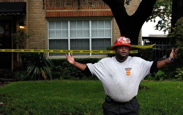 A hazmat worker in Dallas, Texas