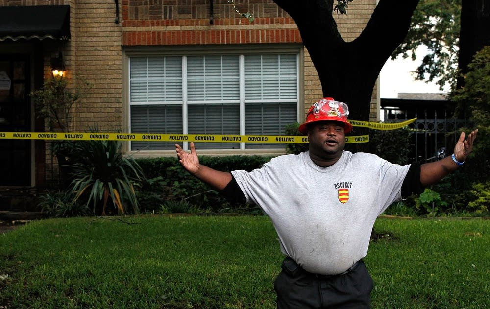 A hazmat worker in Dallas, Texas
