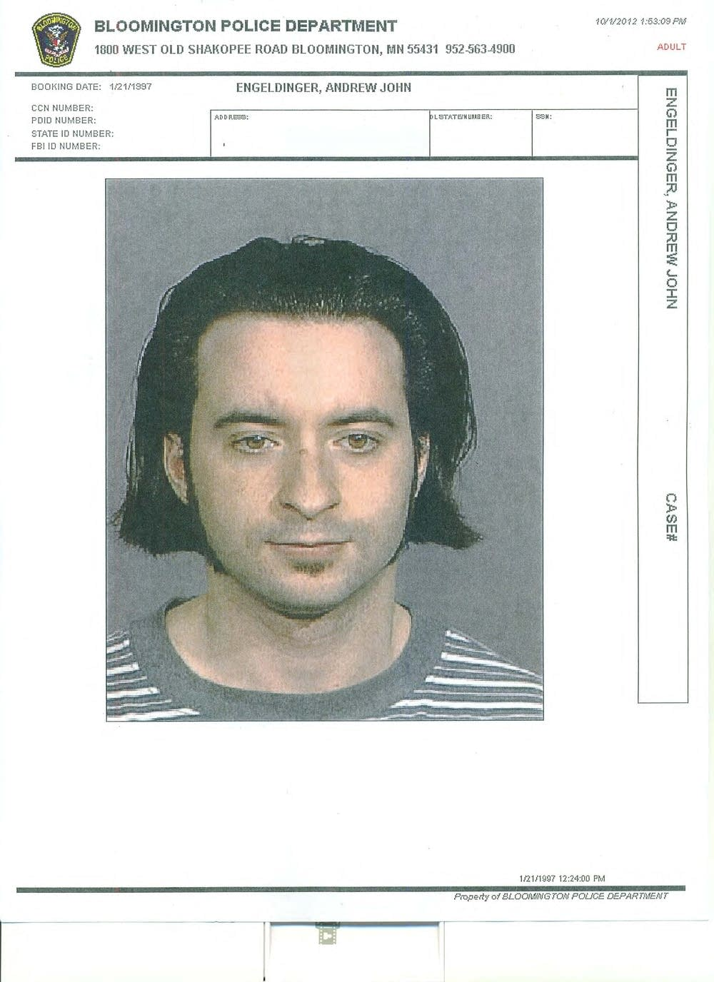 Andrew Engeldinger, 1997 arrest photo