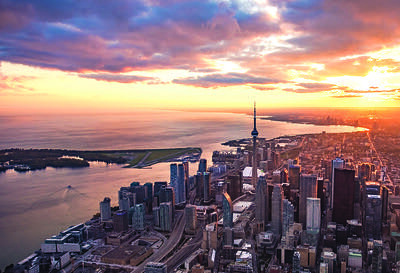 A bird's eye view of Toronto and Lake Ontario.