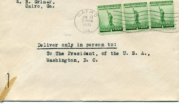 Envelopes and cards sent to the Roosevelt White House