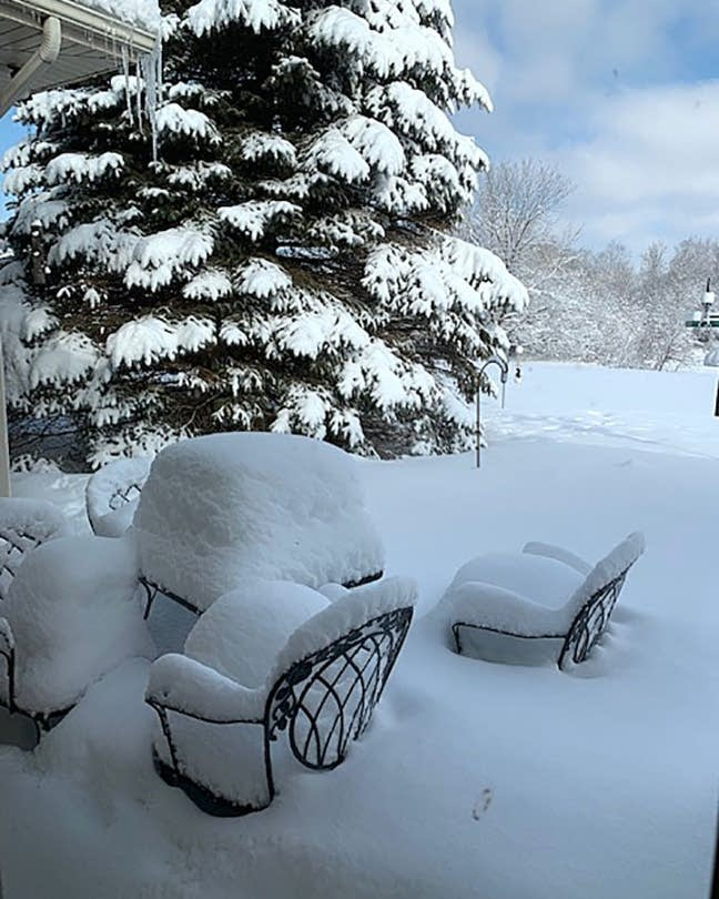 The weekend snowstorm further buried patio furniture