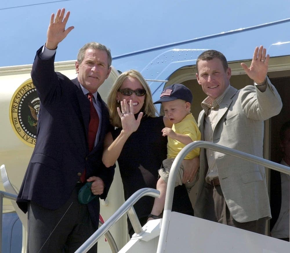 George W. Bush and Lance Armstrong