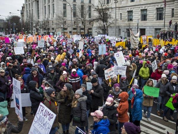 Demonstrators gather in Freedom Plaza