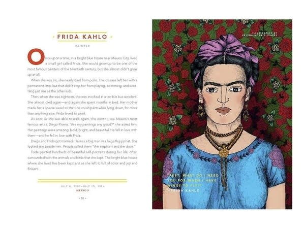 An illustration of Kahlo in a blue dress before a rose pattern background