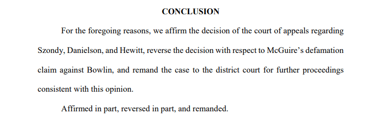 Conclusion of Minnesota Supreme Court decision