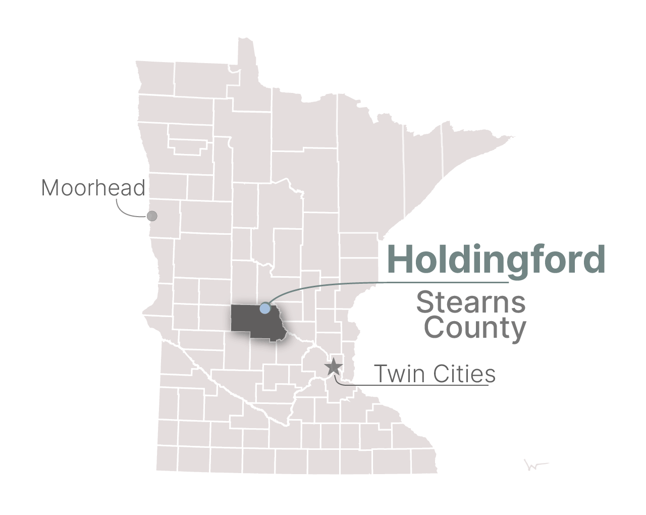 A map of Holdingford, Minn.