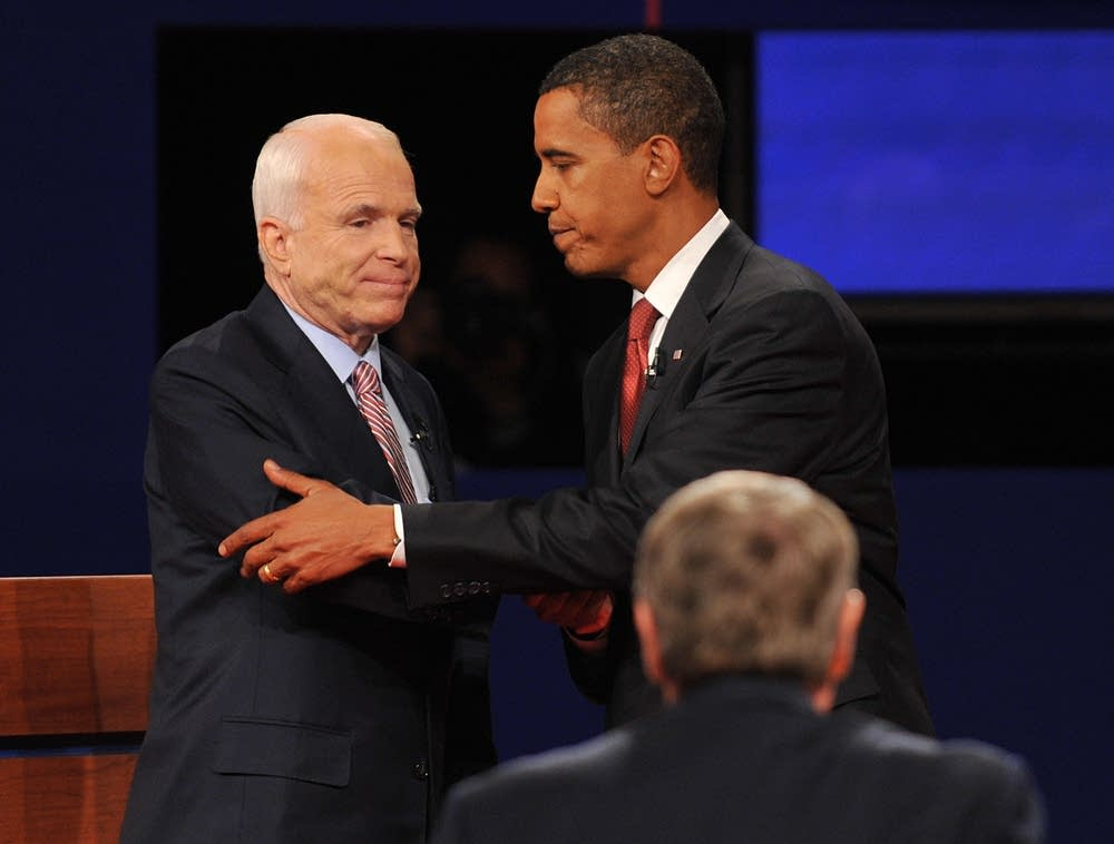 Nominees shakes hands after the debate
