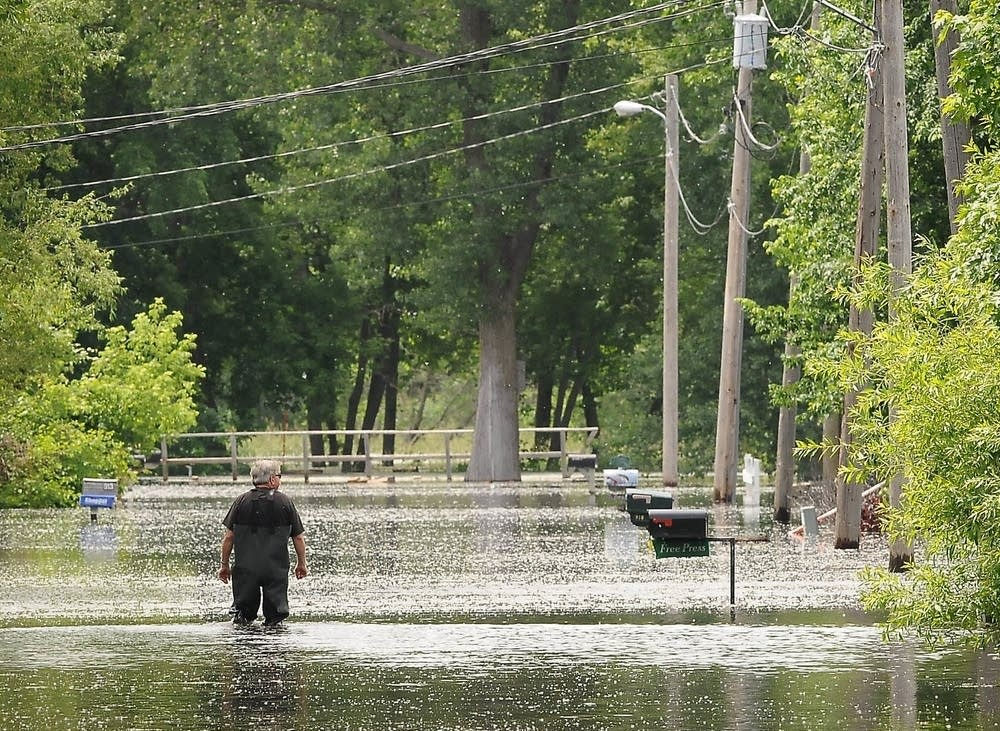 Submerged streets in Waterville, Minn.
