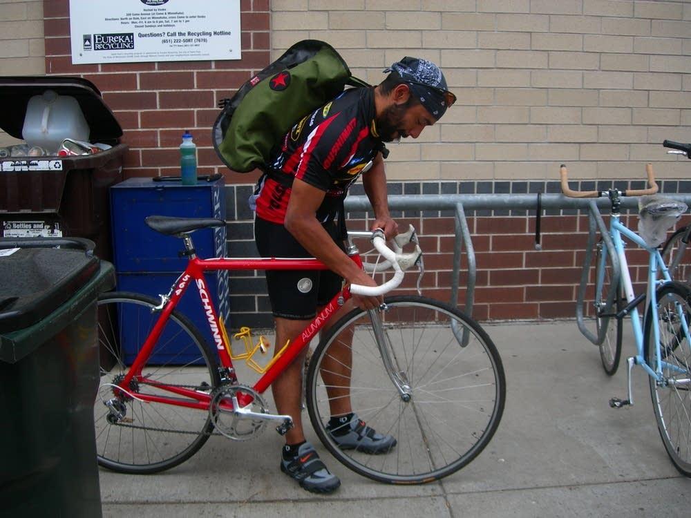 Pedro Perez bikes home