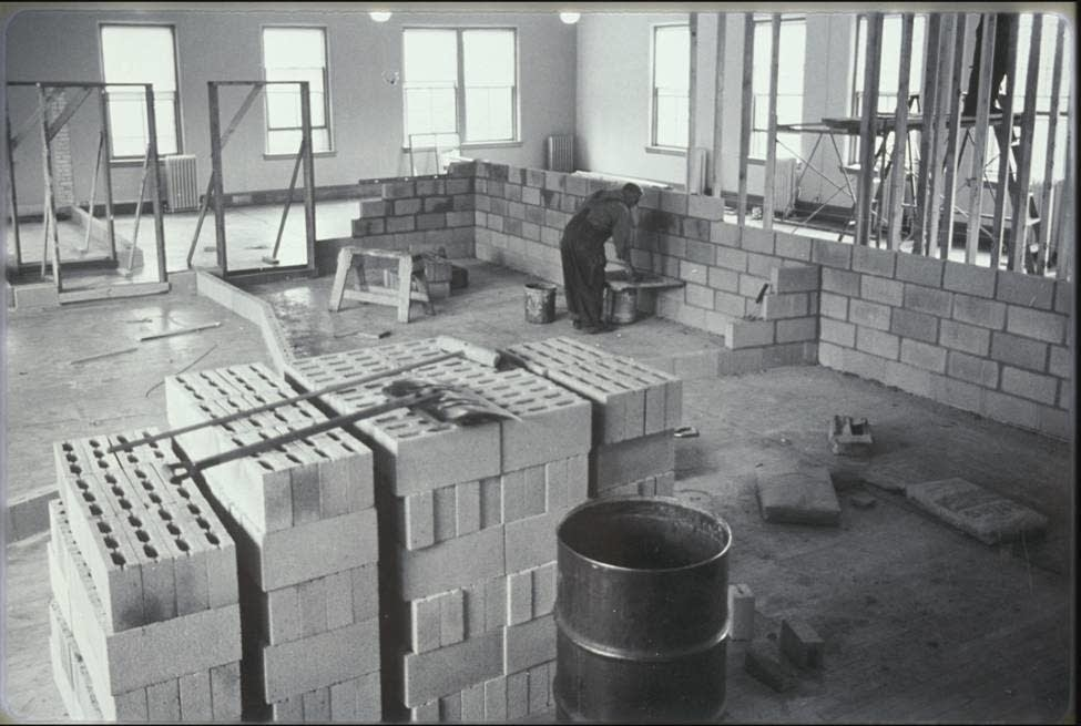 Building MPR's first broadcast studio, 1966