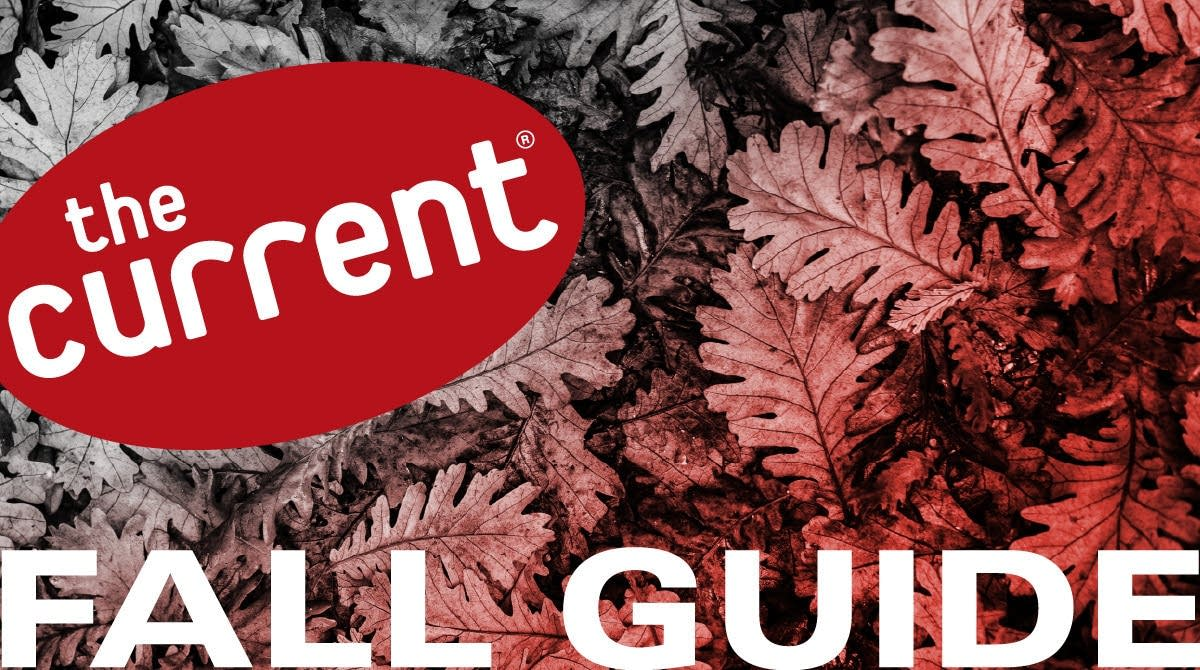The Current Fall Guide graphic with logo over color-shaded photo of leaves.