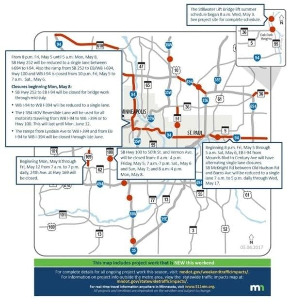 I-94 lane closures top Twin Cities weekend road woes | MPR News