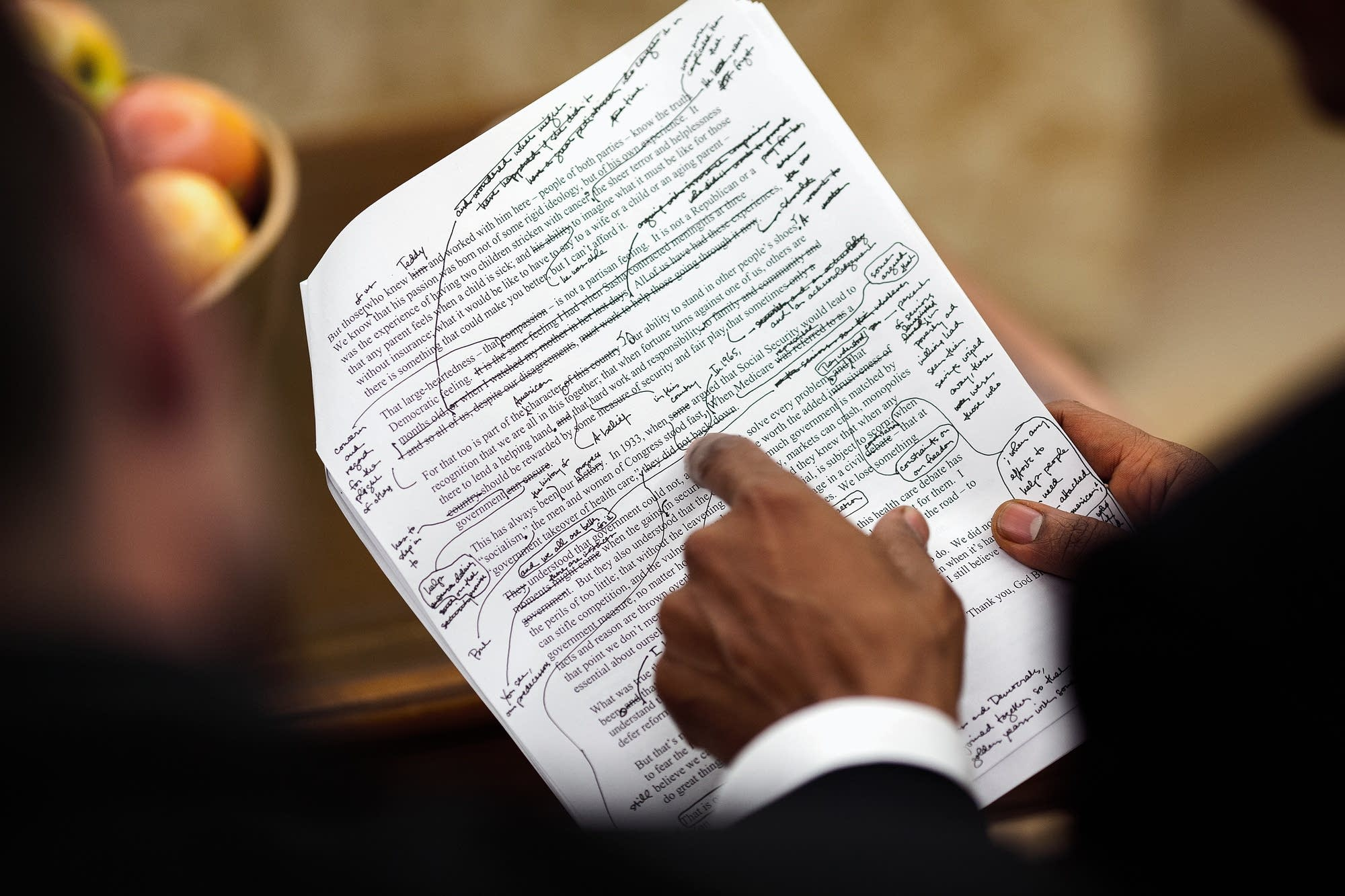 Obama edits a speech on health care on Sept. 9, 2009.