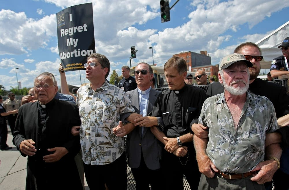 Activists protesting abortion at DNC
