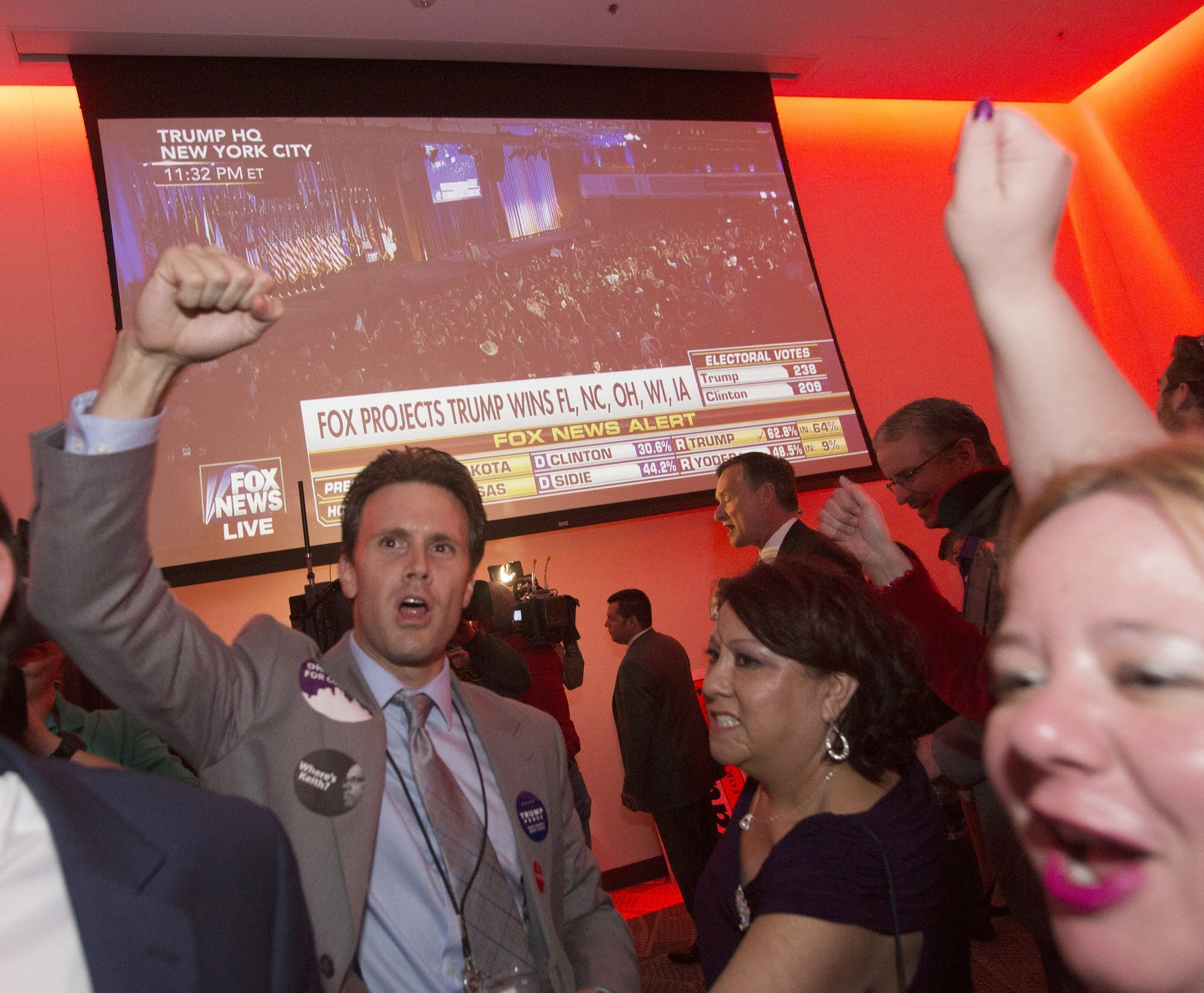 Scott Gregory of New Hope cheers as Fla. is called.