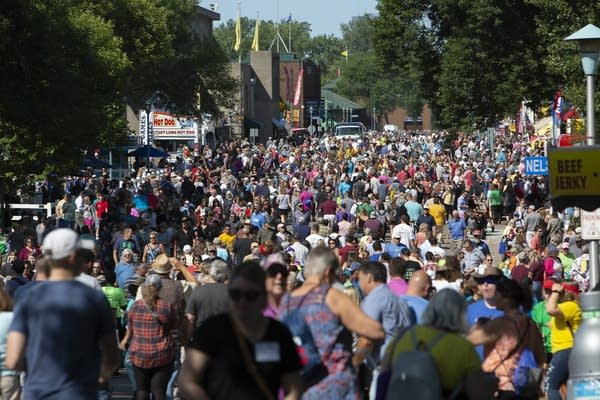 A crowd of people at the fair.