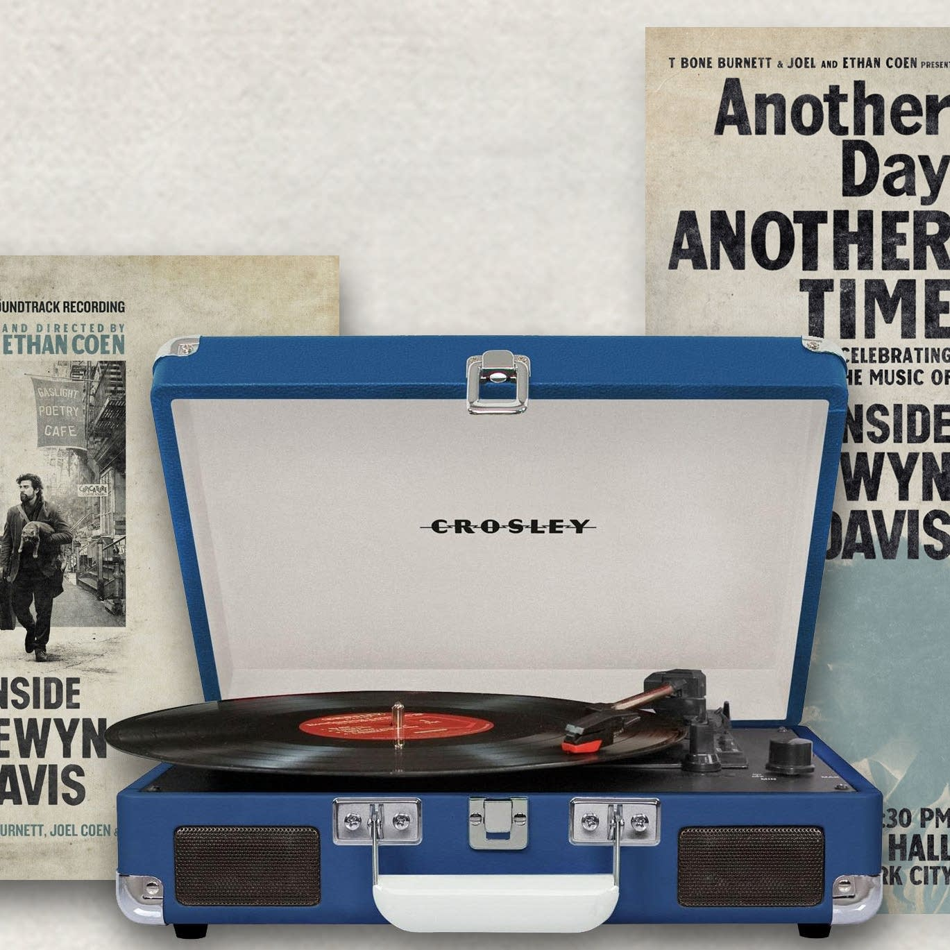 Inside Llewyn Davis vinyl, turntable and poster
