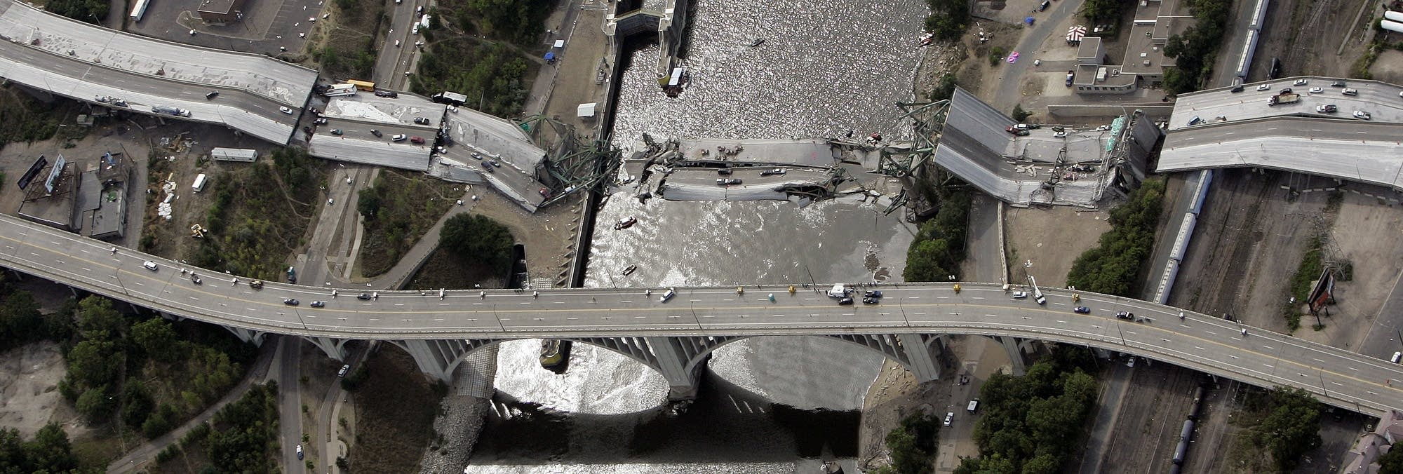 An aerial view of the I-35W bridge that collapsed over the Mississippi.