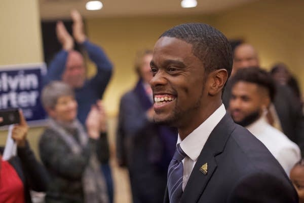 Melvin Carter celebrates with supporters.