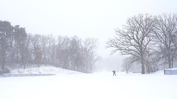 Skiers take to the trails at Theodore Wirth Park in Minneapolis.