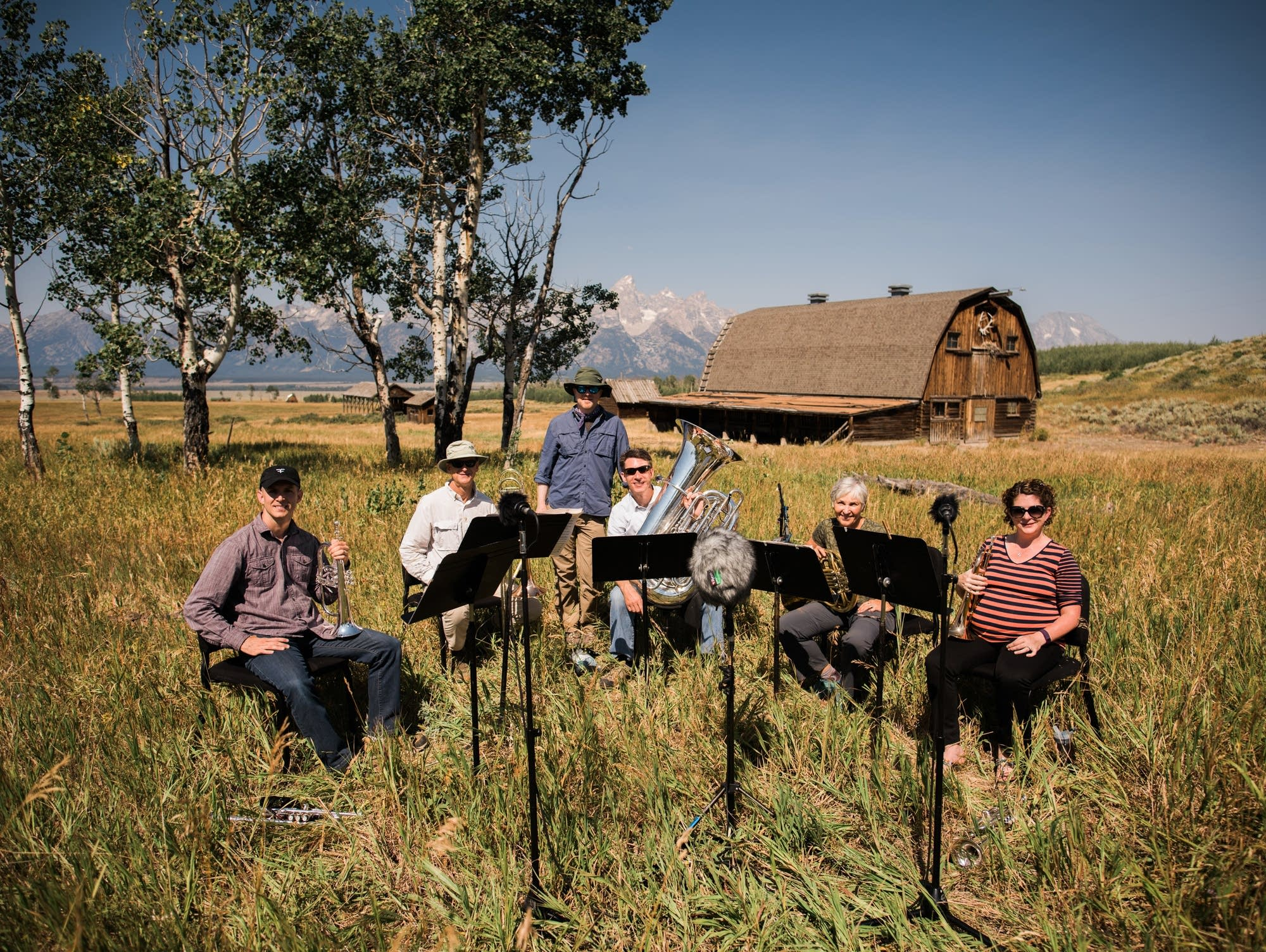 Brass quintet with Fred in the Tetons