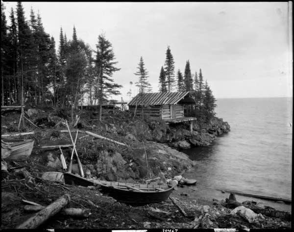 Fisherman's cabin on Lake Superior, circa 1922.