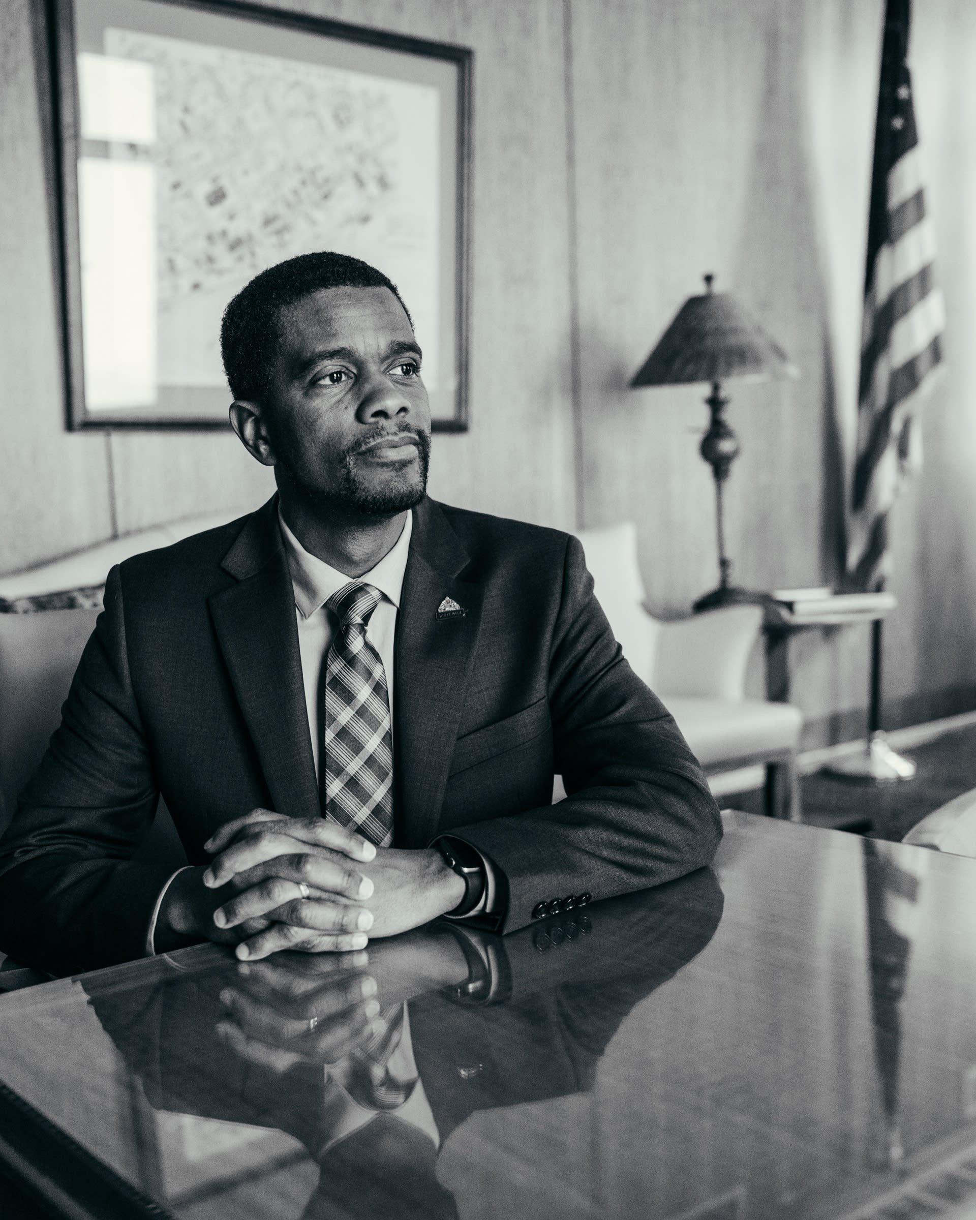 Melvin Carter sits for a portrait in his office.