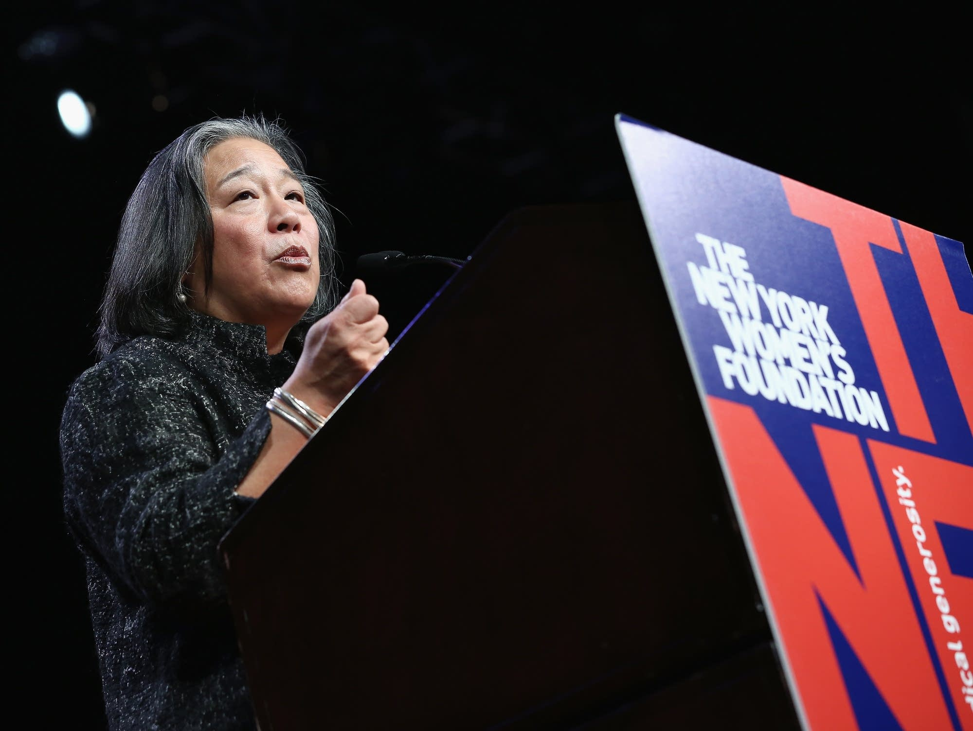 Tina Tchen speaks in New York City in 2017.