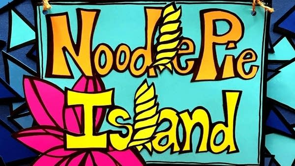 An illustration with letters Noodle Pie Island