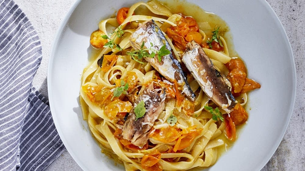 Fettuccine with Mackerel, Sun Gold Tomatoes, and Parmesan