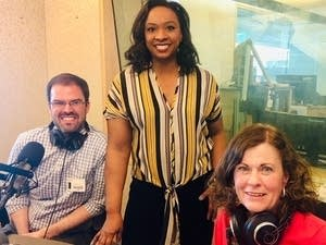 Alex Haley and Maureen Doran with MPR News host Angela Davis.