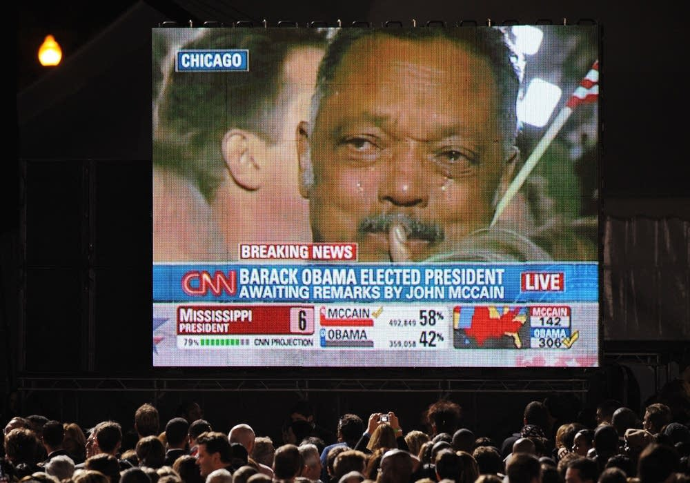 Rev. Jesse Jackson weeps after Obama's victory