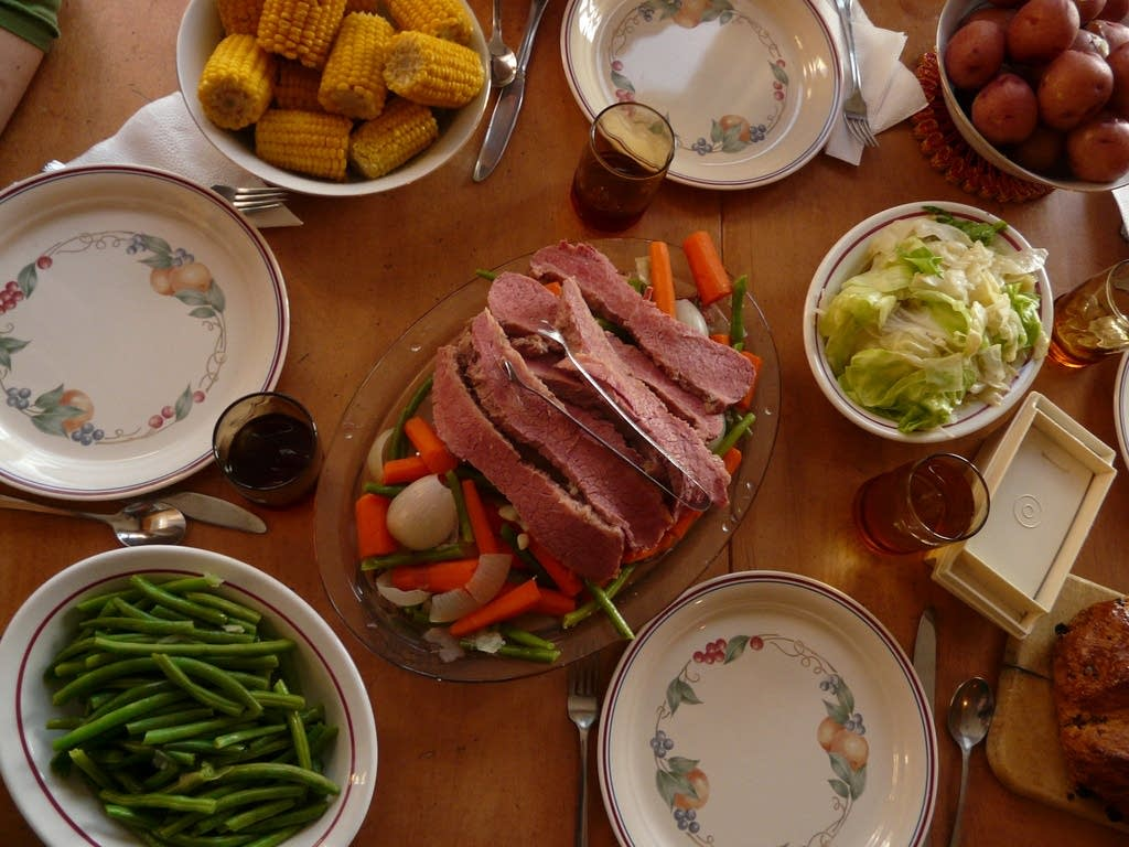 Corned beef and vegetables.