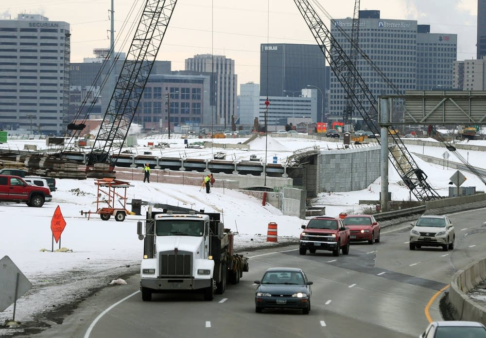 Construction on I-35E in St. Paul
