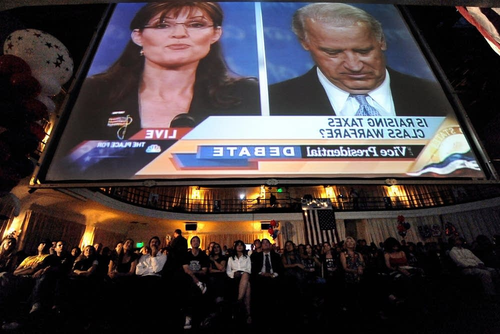 Democratic supporters watch the debate