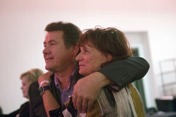 Jerry and Sharon Hertaus watch Trump's acceptance speech.
