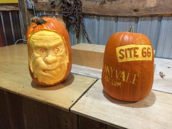 Pumpkin carvings by Ryan Lisson of Pumpkin King Creations.