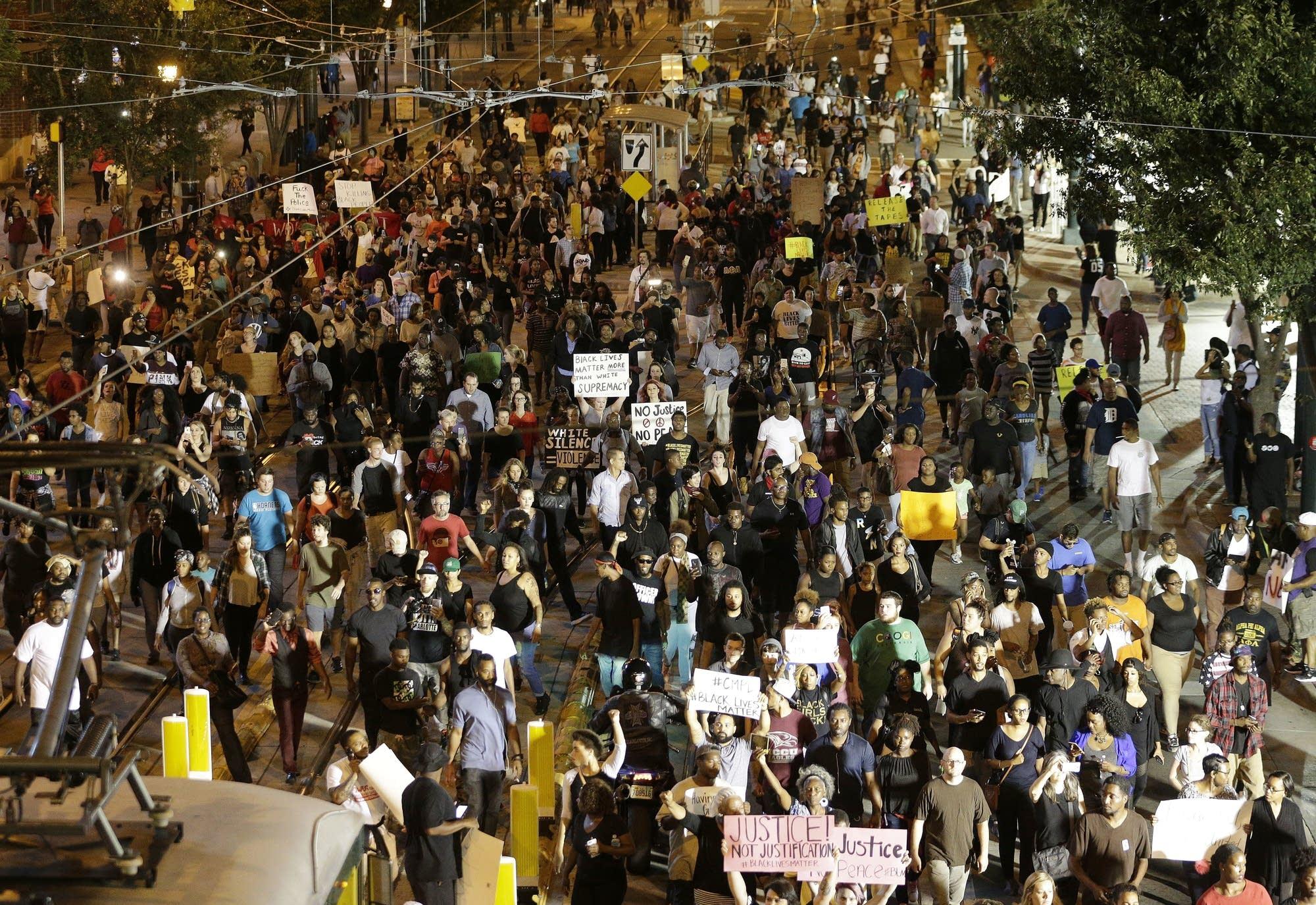Demonstrators protest in Charlotte