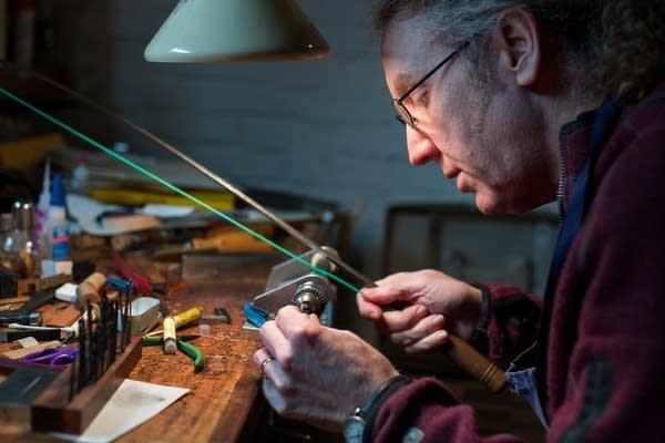 Bow maker Matthew Wehling at work