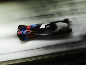 Nick Cunningham, Hakeem Abdul-Saboor during the Men's 2-Man Bobsleigh